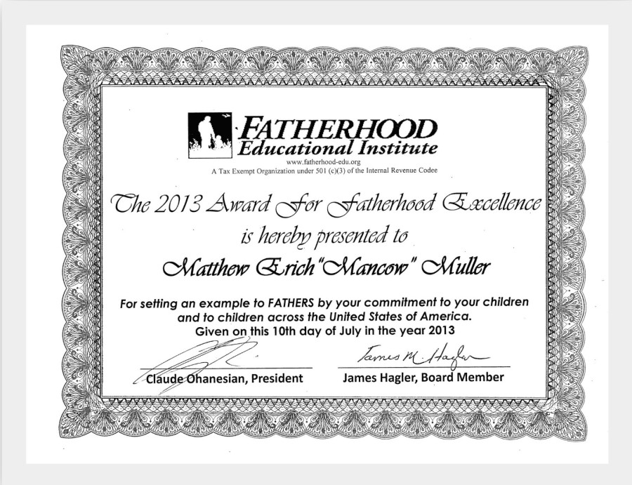 "Chicago TV Personality ""Mancow"" Honored with 2013 Fatherhood Excellence Award"