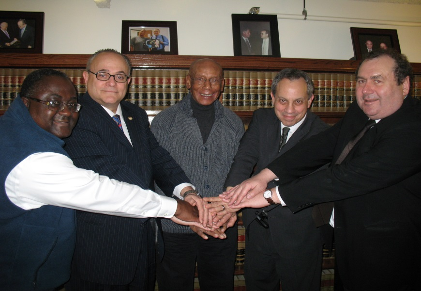 All For One, One For All- FEI President Emeritus Jeffery Leving, FEI Honorary President Ernie Banks and FEI Volunteers